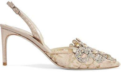Veneziana Embellished Lace And Satin Slingback Pumps - Beige