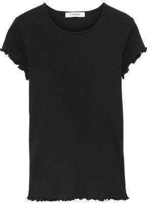 Ruffle-trimmed Ribbed Cotton-jersey T-shirt