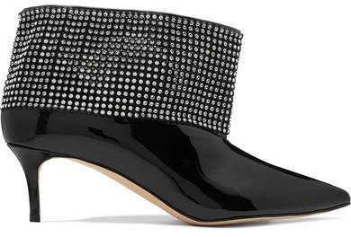 Crystal-embellished Patent-leather Ankle Boots - Black