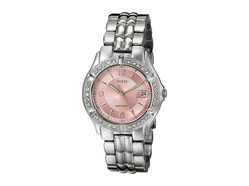 GUESS - G75791M Stainless Steel Quartz Watch (Silver Bracelet/Silver Case With Crystals/Pink Dial) Watches