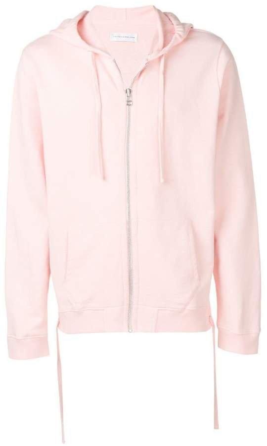 back print zip hoodie