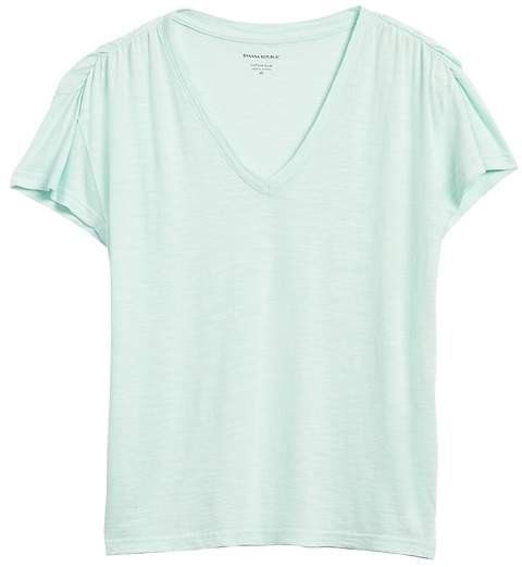 Slub Cotton-Modal Ruched T-Shirt