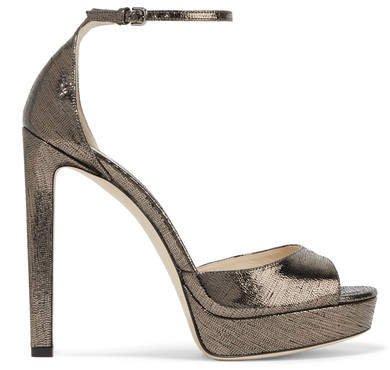 Pattie 130 Metallic Lizard-effect Leather Platform Sandals - Gunmetal