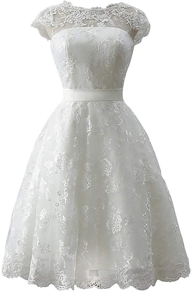 Floral Lace Knee-Length Short Wedding Dress