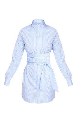 Blue Pinstripe Tie Waist Shirt Dress | PrettyLittleThing