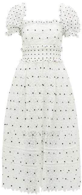 Self Portrait Hibiscus Guipure Lace Midi Dress - Womens - White