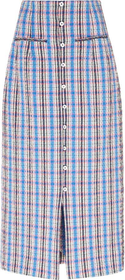 Rosie Assoulin Plaid Cotton-Blend Skirt Size: 2