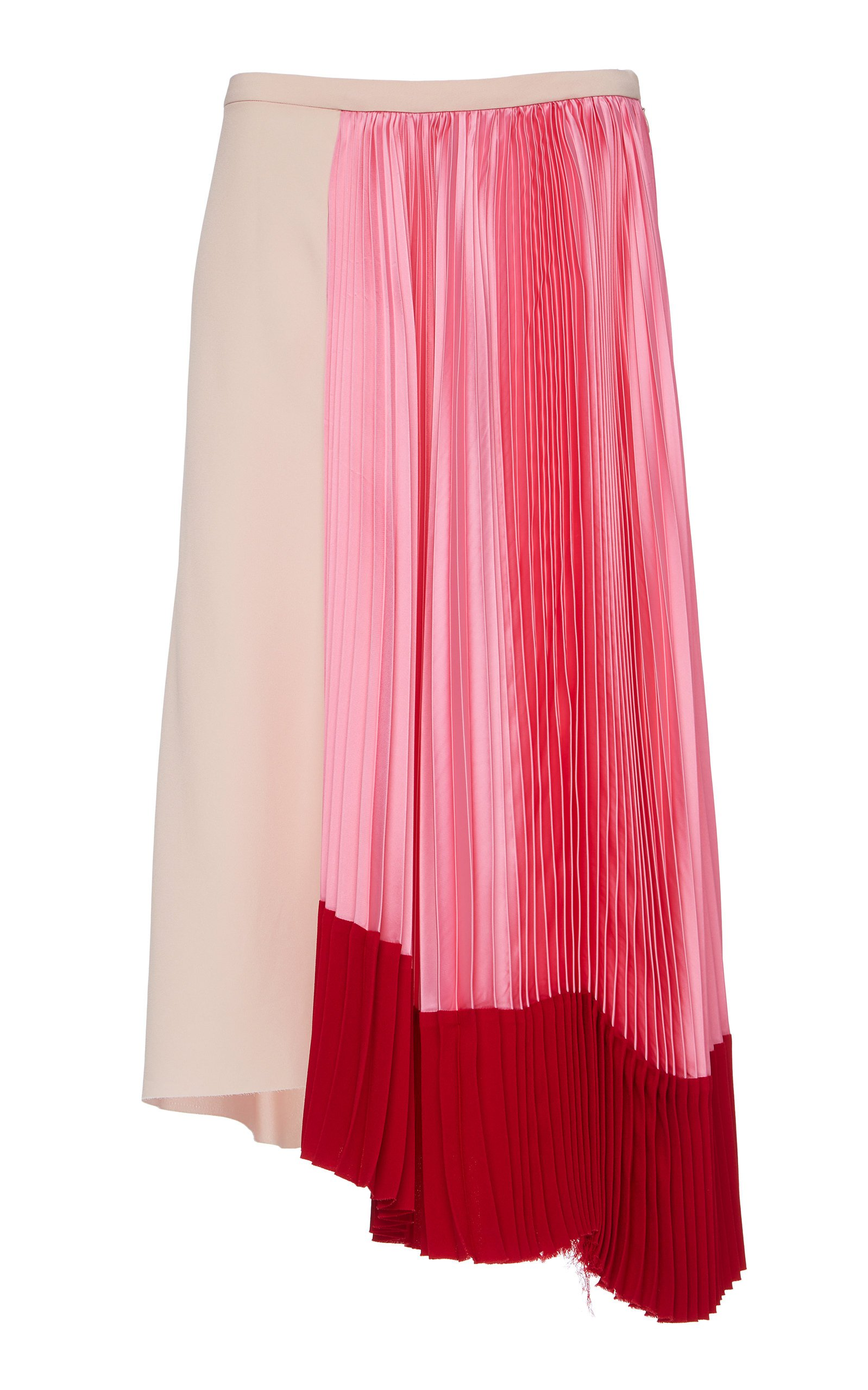 Marni Asymmetric Pleated Satin Midi Skirt