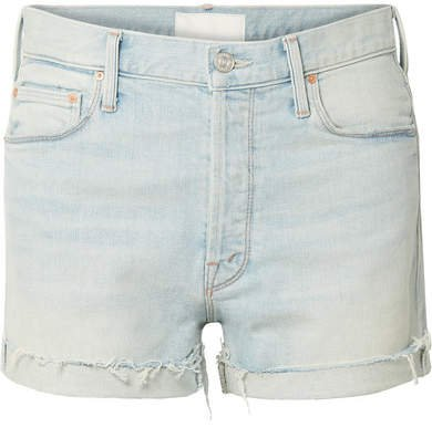 The Proper Distressed Denim Shorts - Light denim