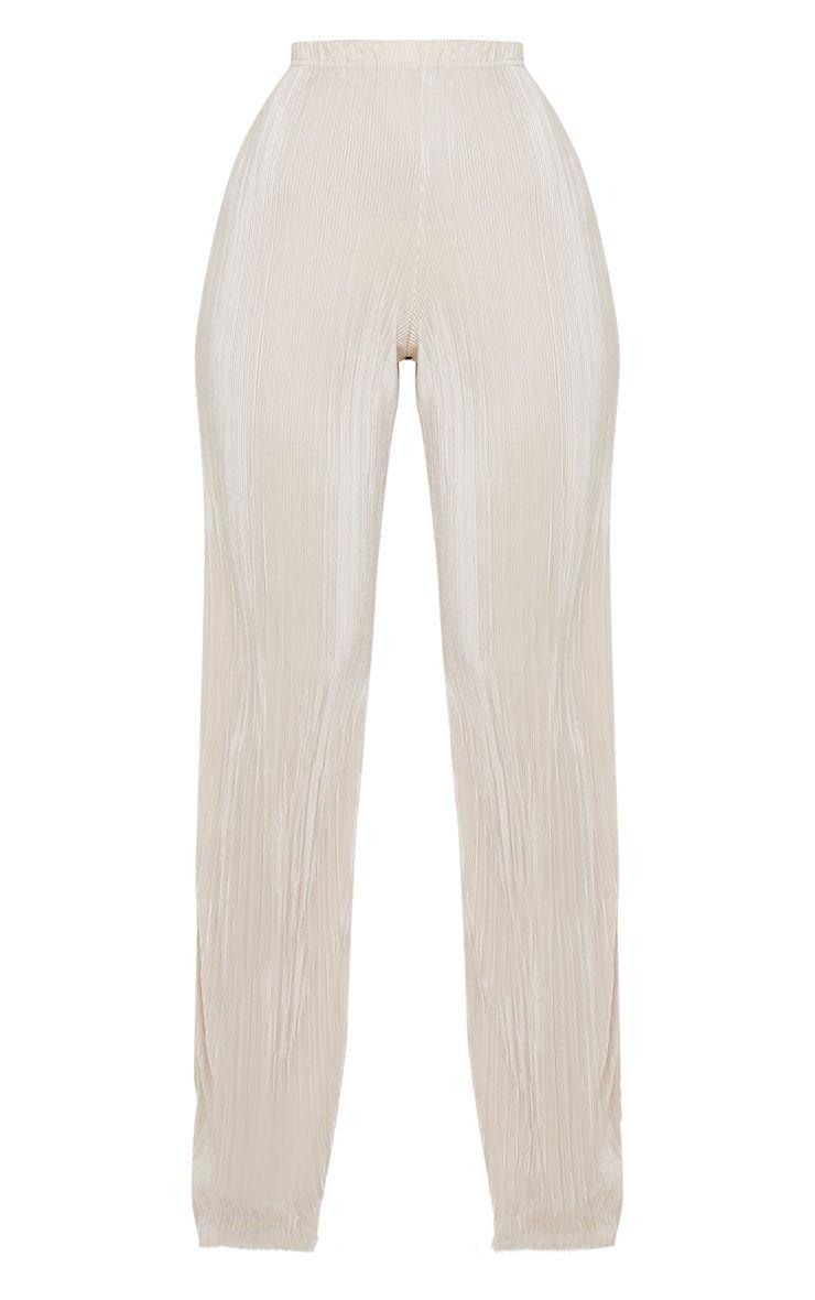 Champagne Plisse Straight Leg Trouser | PrettyLittleThing USA