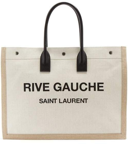 Rive Gauche Print Canvas Tote - Womens - Black White