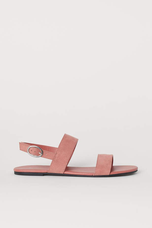 Faux Suede Sandals - Pink