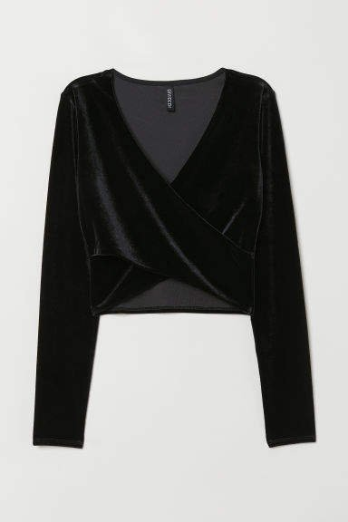 Short Wrapover Top - Black