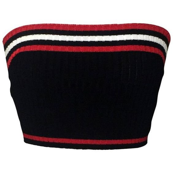 Prada Rib Knit Sporty Red White And Blue Cropped Tube Top