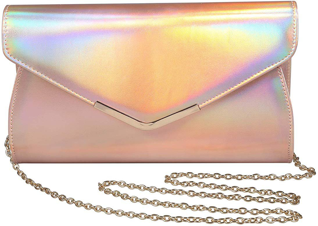 Iridescent Leather Evening Bag Clutch Handbag With Shoulder Strap for Girls Party Wedding Purse Crossbody Bag (Pink): Handbags: Amazon.com