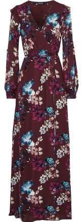 Floral-print Silk Crepe De Chine Maxi Wrap Dress
