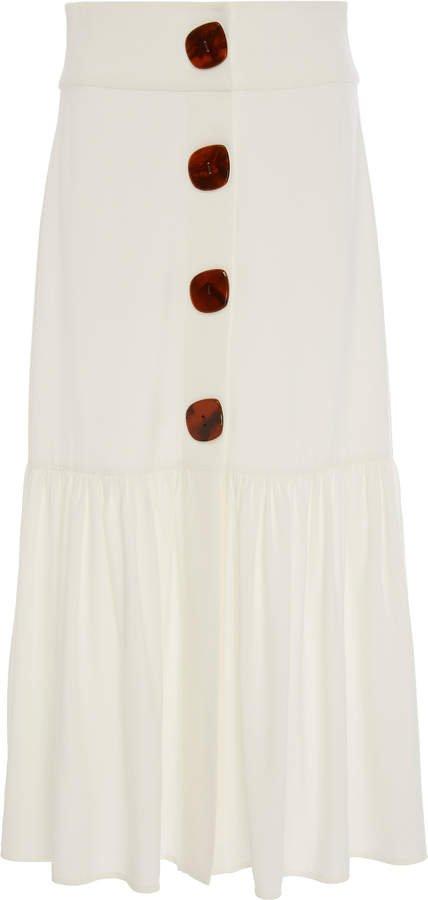 Buttoned Poplin Midi Skirt