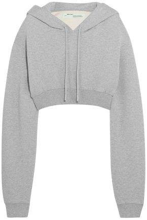 Off WhiteTM Cropped French Cotton-jersey Hooded Sweatshirt