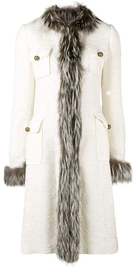 Pre-Owned trimmed midi coat