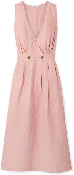Wrap-effect Linen-blend Midi Dress - Blush