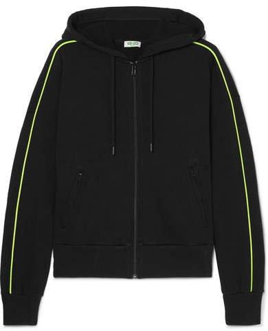 Printed Cotton-jersey Hoodie - Black