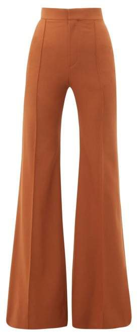 High Rise Wool Blend Flared Trousers - Womens - Brown