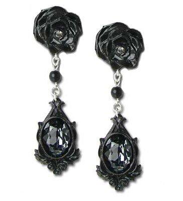 Dark Desires Black Rose Crystal Gothic Earrings