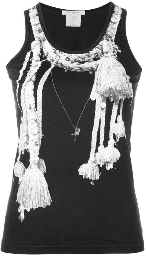 Pre-Owned tassel print tank top