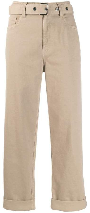 belted straight-leg trousers