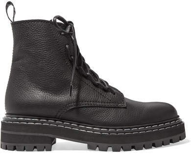 Textured-leather Ankle Boots - Black