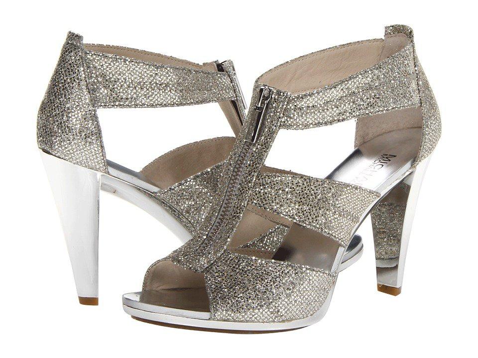 MICHAEL Michael Kors - Berkley T-Strap (Silver Glitter) High Heels