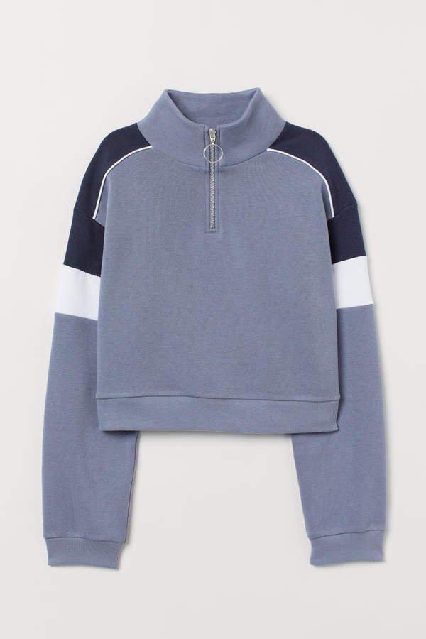 Stand-up Collar Sweatshirt - Blue