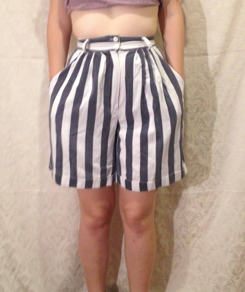 1980s Blue White Mod High Waisted Shorts
