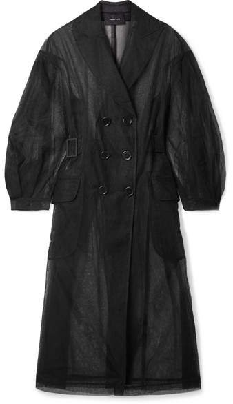 Tulle Trench Coat - Black