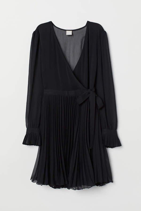 Chiffon Wrap Dress - Black