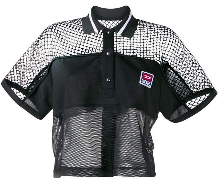 boxy mesh insert polo shirt