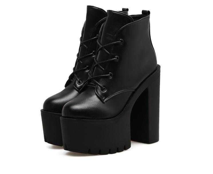 itGirl Shop   HIGH BLACK PLATFORM LACEUP GOTHIC WOMEN BOOTS