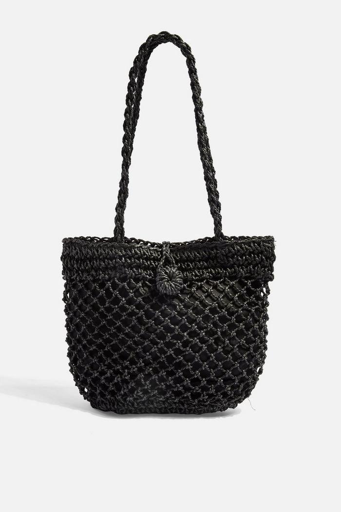 FIZZLE Black Straw Tote Bag   Topshop