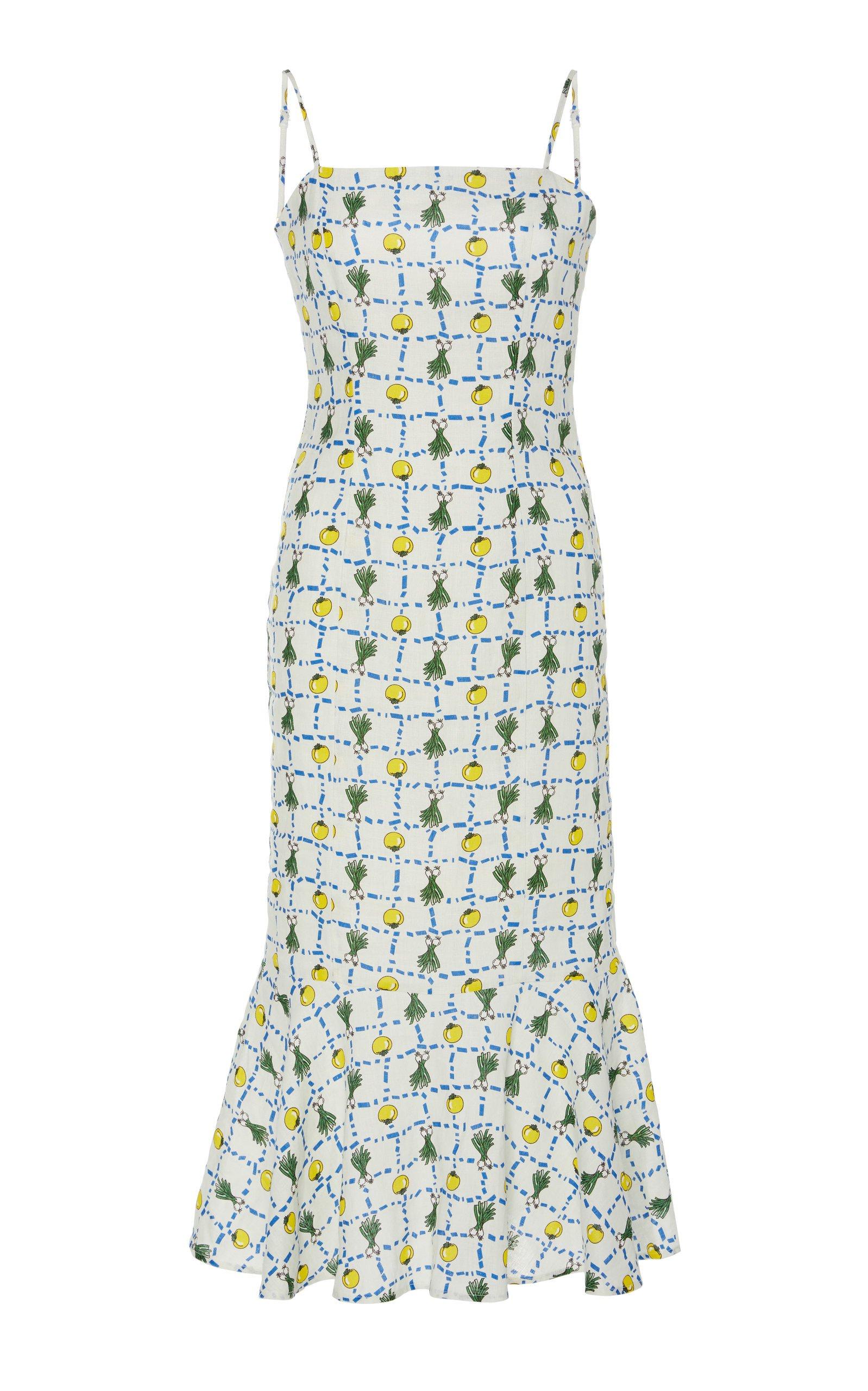 Staud Lychee Printed Linen Midi Dress Size: 8