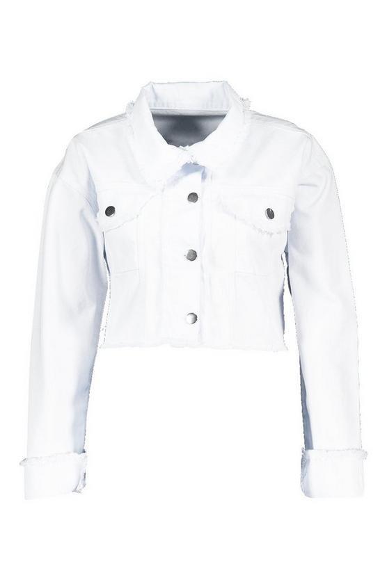 Plus Frayed Edge Cropped Denim Jacket | Boohoo