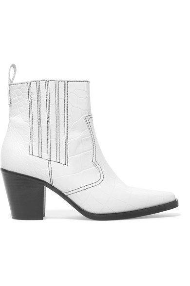 GANNI | Croc-effect leather ankle boots | NET-A-PORTER.COM