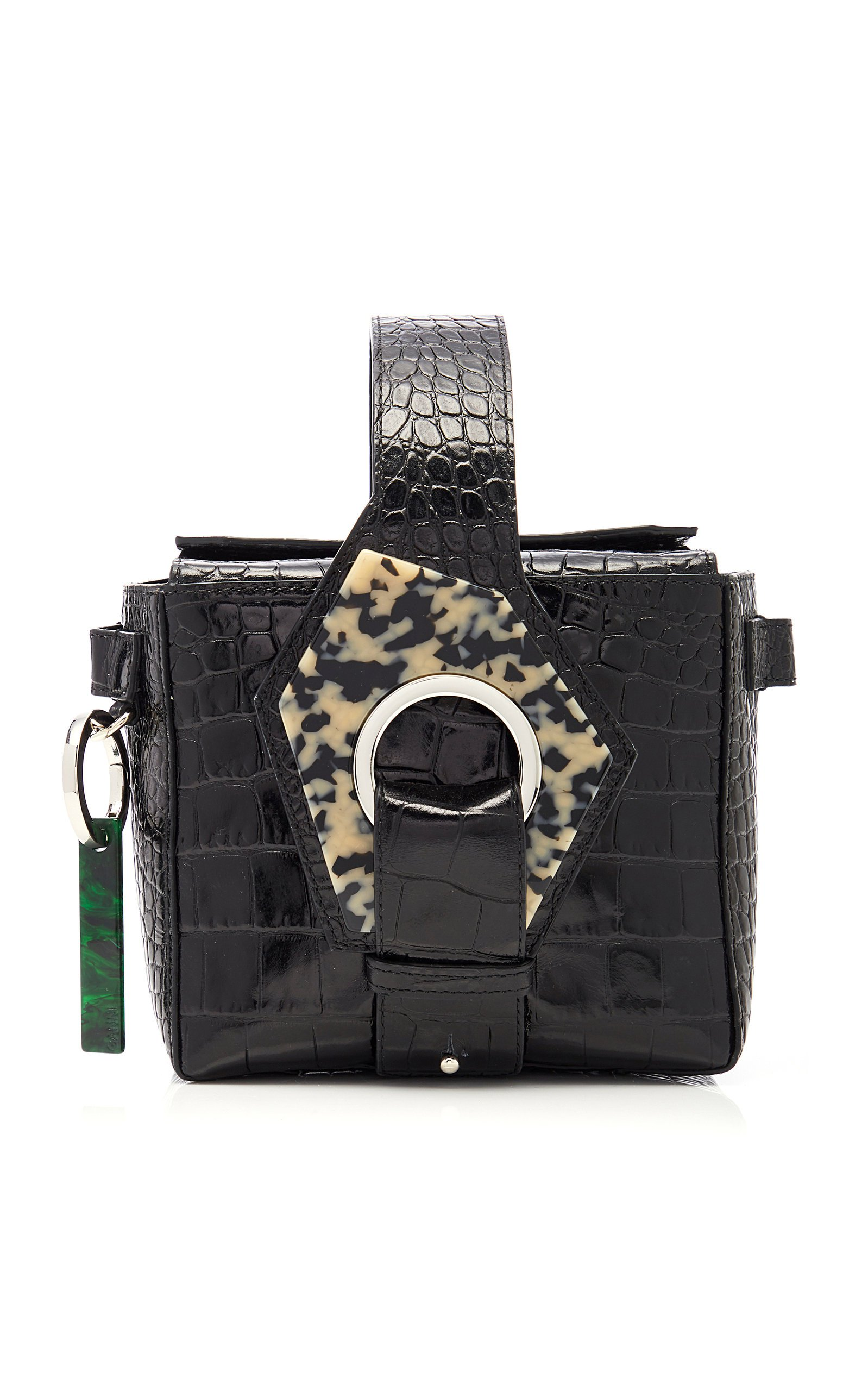 Ganni Crocodile Embossed Leather Crossbody Bag