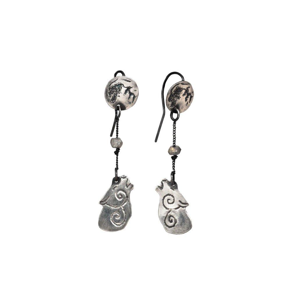 Sterling silver howling wolf earrings | Lunaria jewellery