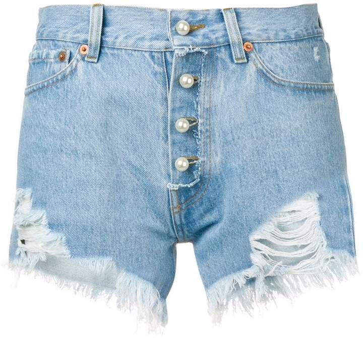 Forte Dei Marmi pearl-embellished distressed shorts