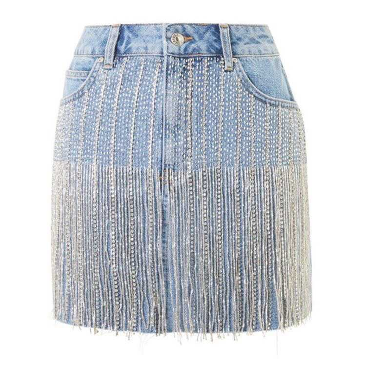 Jean Skirt With Silver Tassels