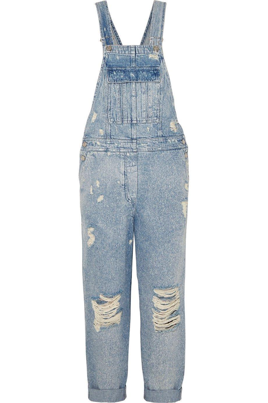 Balmain | Distressed denim overalls | NET-A-PORTER.COM