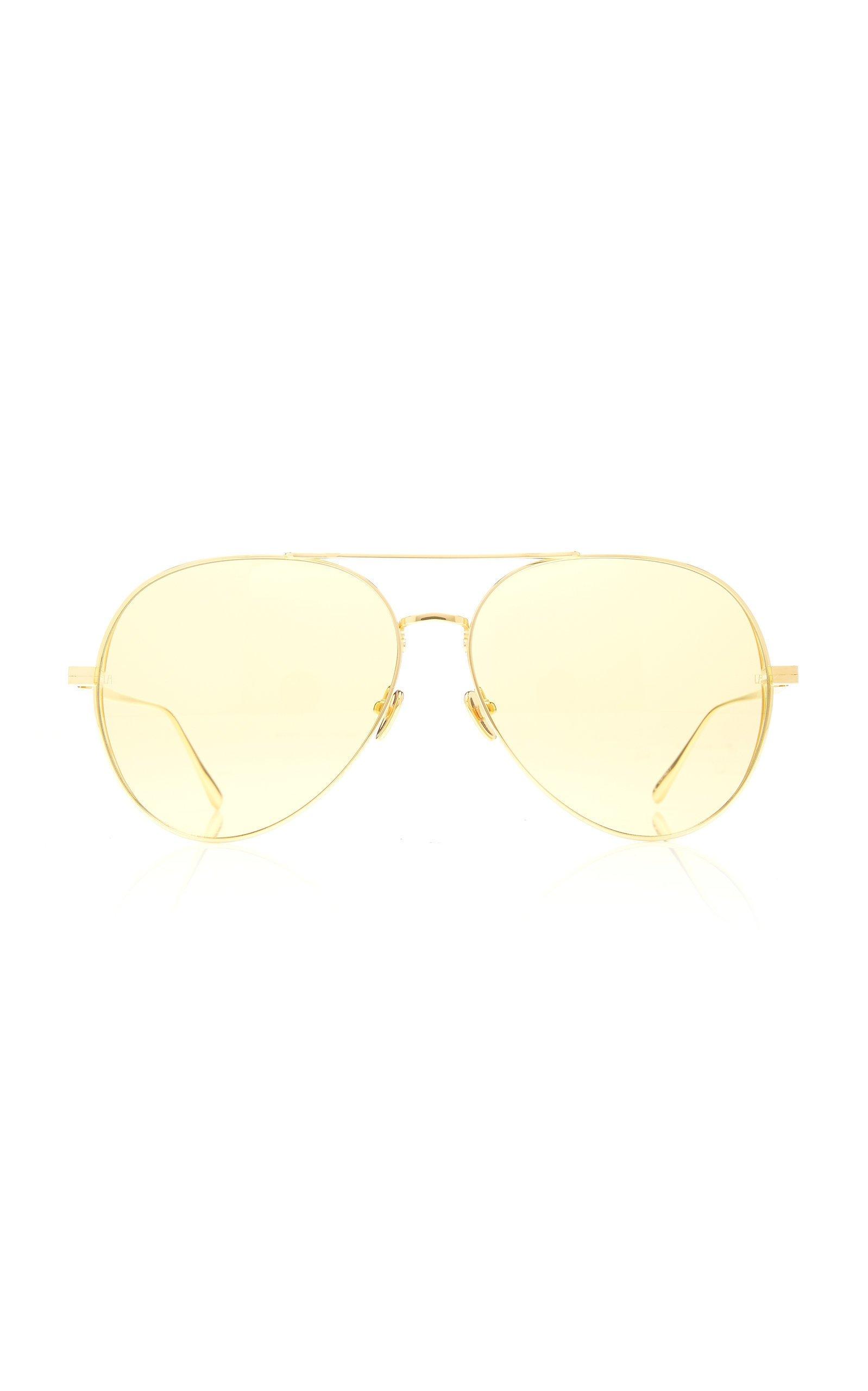 Linda Farrow Aviator-Style Gold-Tone Sunglasses