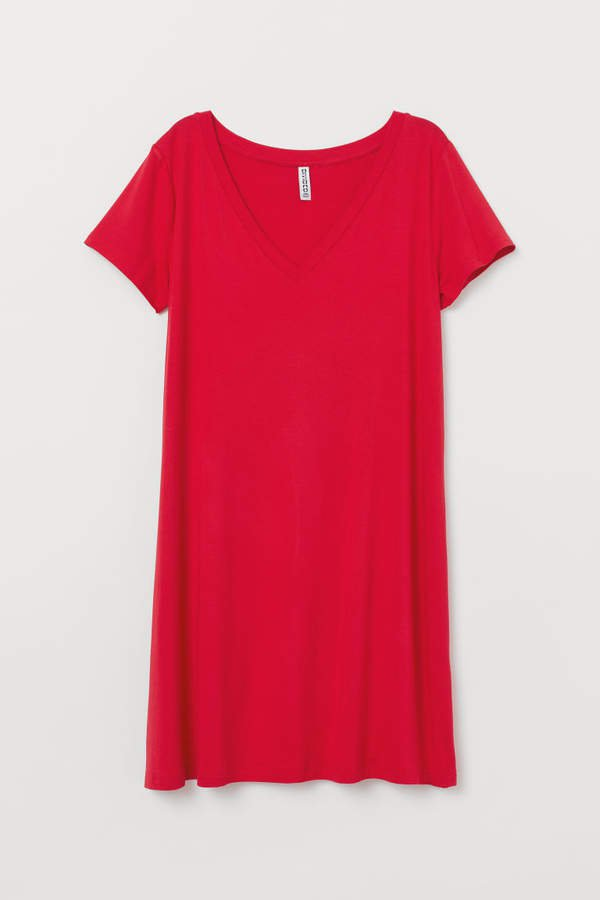 V-neck Jersey Dress - Red