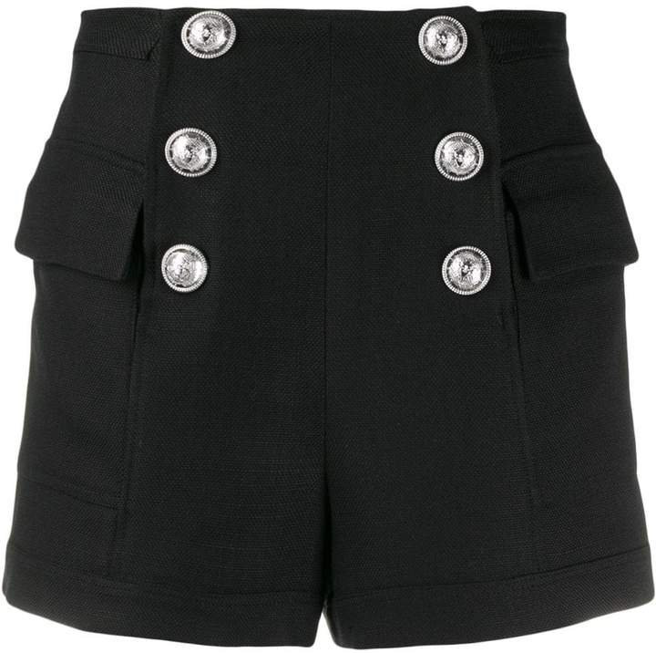 high-rise double-breasted shorts