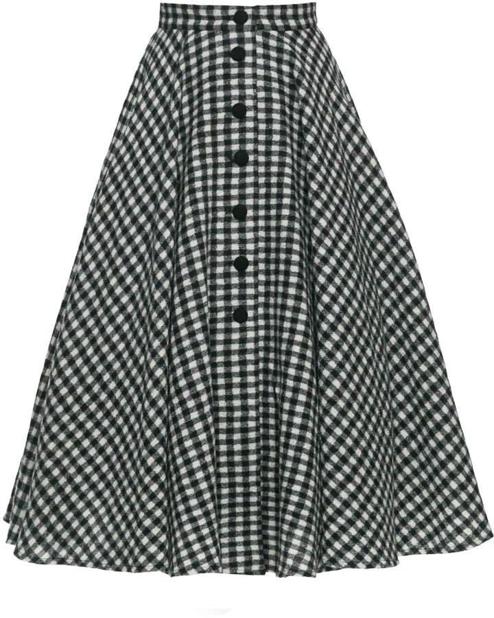 Oscar Gingham Midi Skirt